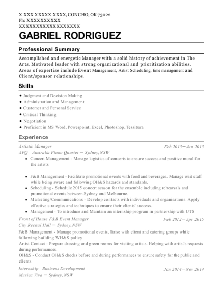 Best Front Of House F&b Event Manager Resumes | ResumeHelp