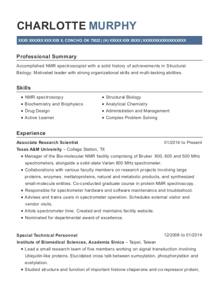 view resume associate research scientist
