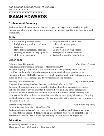 Best Primary Care Paramedic Resumes