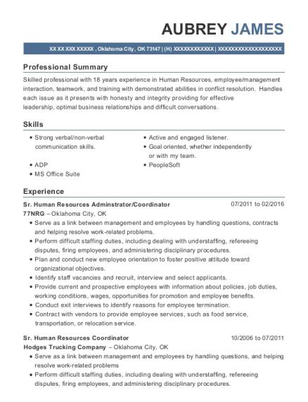 view resume sr human resources adminstrator - Human Resources Coordinator Resume