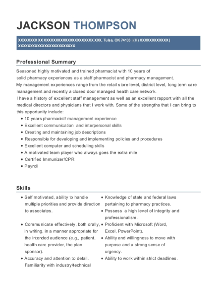 rite aid corporation pharmacy district manager resume sample
