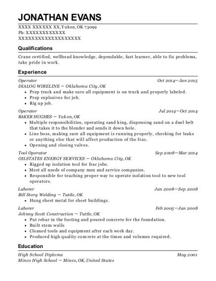 Best Tool Operator Resumes | ResumeHelp