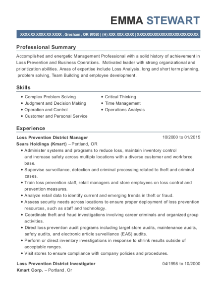 District manager loss prevention resume