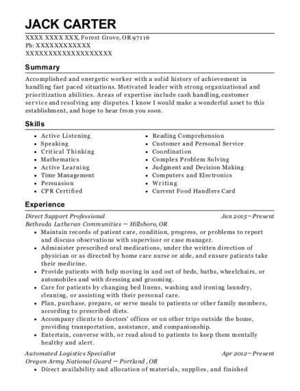 Jack Carter  Logistics Specialist Resume