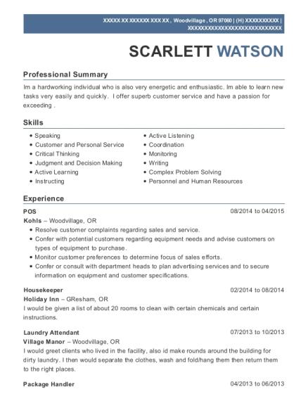 scarlett watson - Linen Attendant Sample Resume