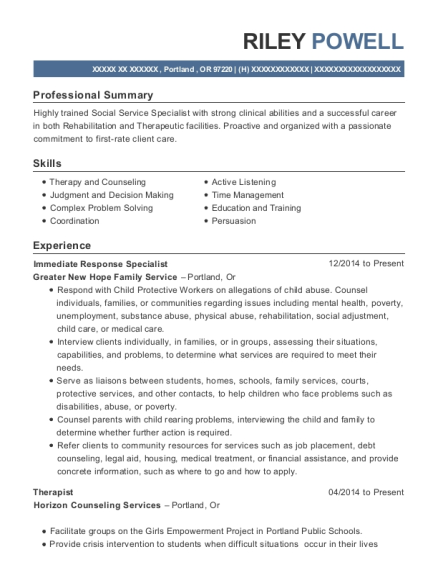 View Resume. Immediate Response Specialist