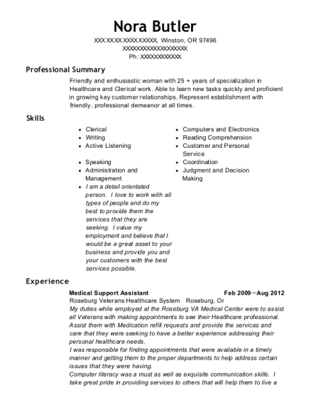 medical support assistant resume