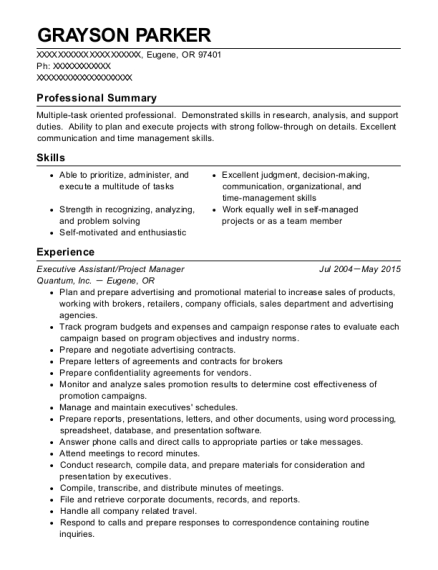 Grayson Parker  Assistant Project Manager Resume