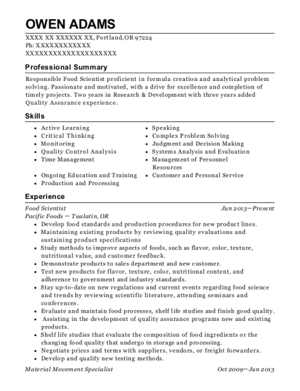 View Resume Food Scientist