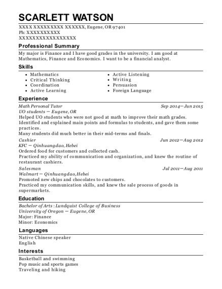 uo students math personal tutor resume sample eugene oregon