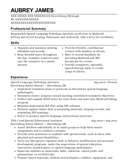 View Resume. Speech Language Pathology Assistant