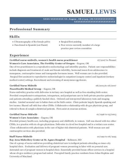 samuel lewis - Certified Nurse Midwife Resume