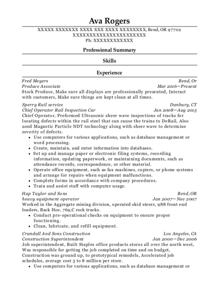 resume for heavy equipment operator professional heavy machinery