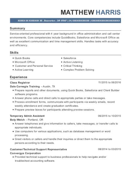 Best Class Registrar Resumes | ResumeHelp