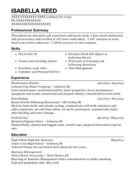 Isabella Reed  Maintenance Job Resume