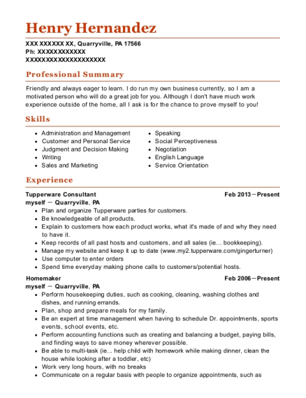 myself tupperware consultant resume sample jenners pennsylvania