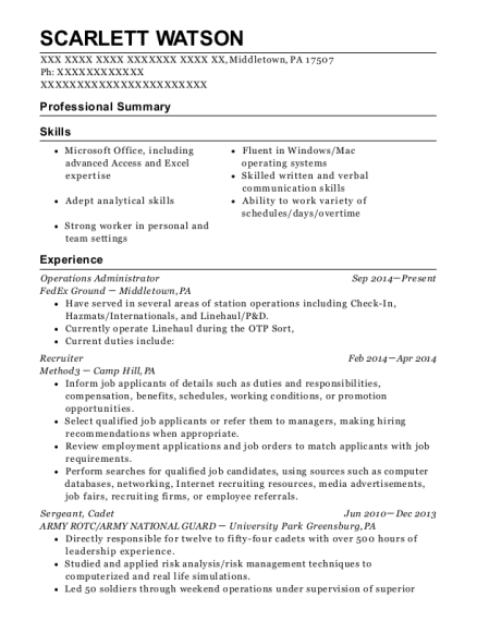 fedex ground operations administrator resume sample knoxville