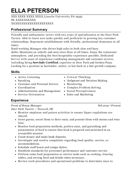 Dish Restaurant Front Of House Manager Resume Sample