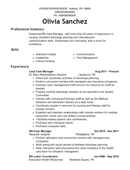 View Resume. Lead Care Manager