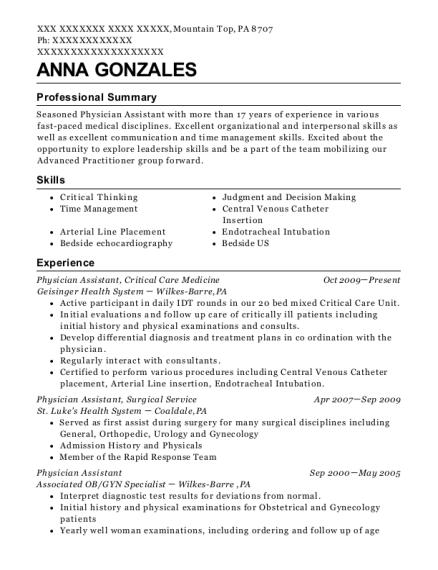 medicine resume
