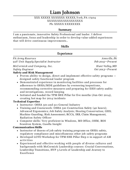 best safety engineer resumes resumehelp