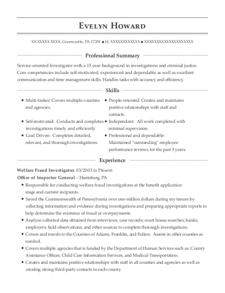 Evelyn Howard  Background Investigator Resume