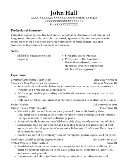 National Vision Certified Optometric Technician Resume Sample ...