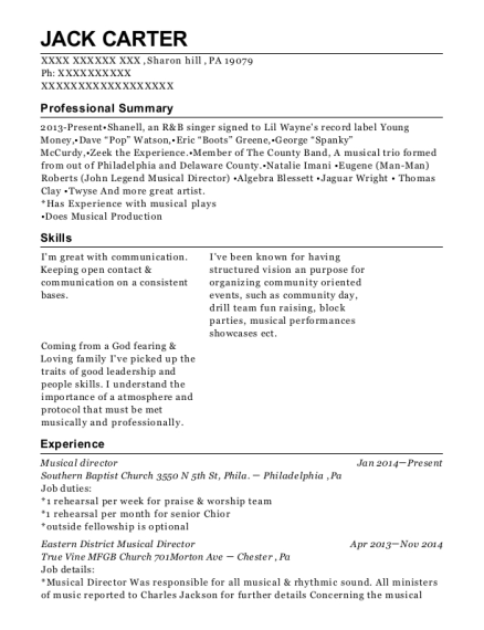 best musical director resumes