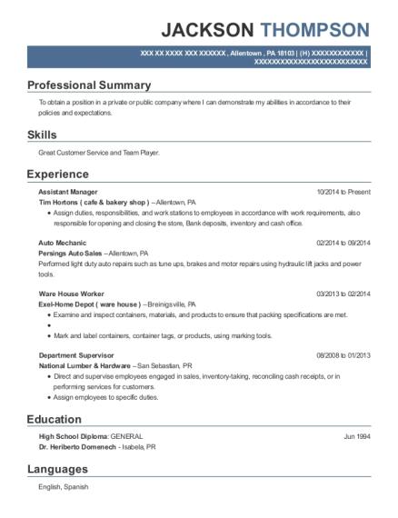 Best Assistant Manager Resumes In Allentown Pennsylvania Resumehelp