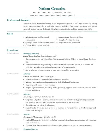 Attorney Resume | Best Managing Attorney Resumes Resumehelp