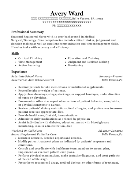Avery Ward  School Nurse Resume