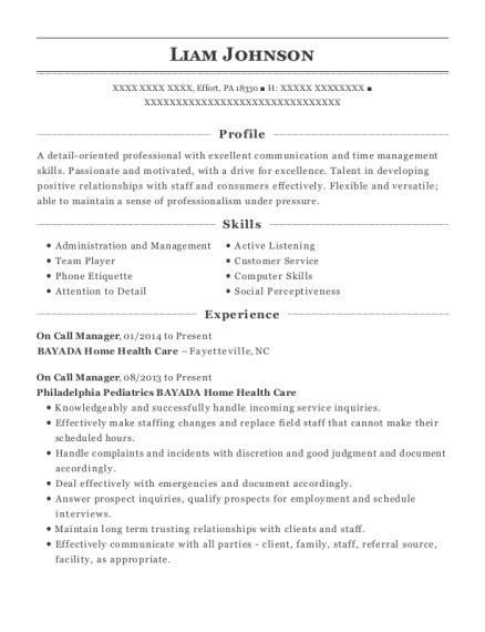 bayada home health care on call manager resume sample