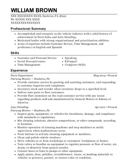 william brown - Auto Detailer Resume