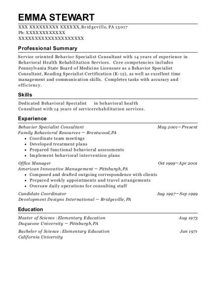Best Behavior Specialist Consultant Resumes   ResumeHelp