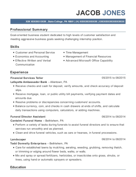 Jacob Jones  Funeral Director Resume