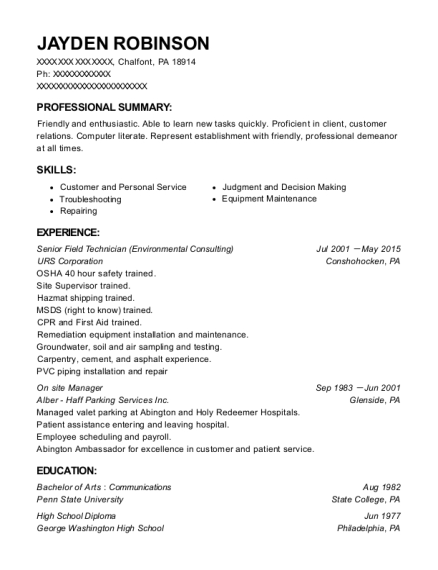 Urs Corporation Senior Field Technician Resume Sample - Chalfont ...