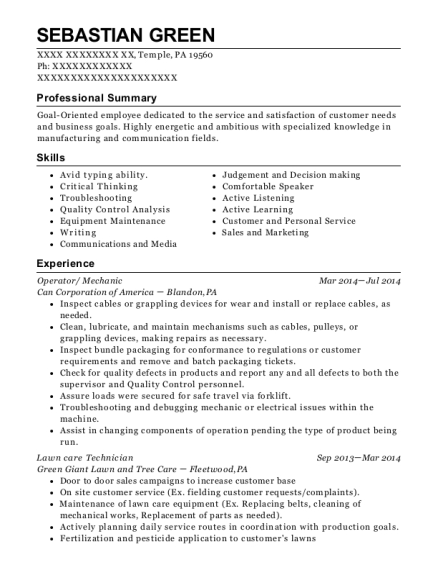 Lawn Care Technician , Busser. Customize Resume · View Resume