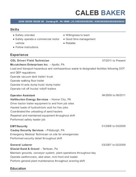 View Resume. CDL Driver/ Field Technician