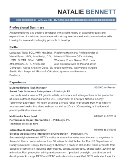 natalie bennett multimedia specialist sample resume - Multimedia Resume Examples