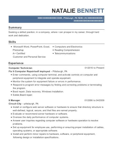 View Resume. Computer Technician