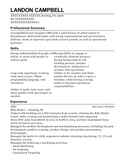 bills khakis cmo resume sample reading pennsylvania resumehelp