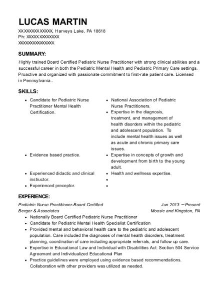 Berger & Associates Pediatric Nurse Practitioner Board Certified ...