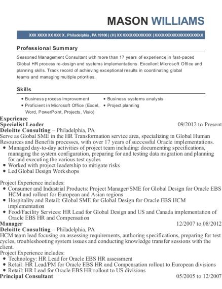 deloitte consulting specialist leader resume sample philadelphia