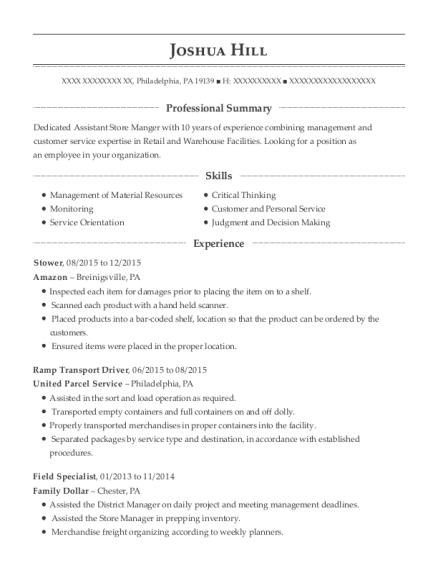 fedex ramp transport driver resume sample