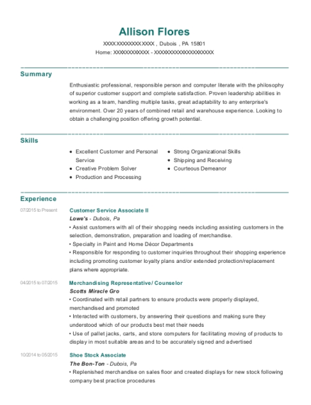 view resume customer service associate ii - Lowe Customer Service Associate Sample Resume
