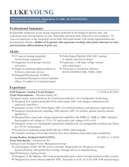 Triad Semiconductor Staff Engineer Analog Circuit Designer Resume