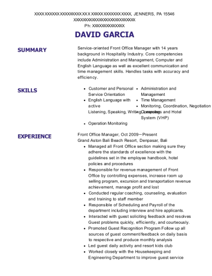 resume for spa manager