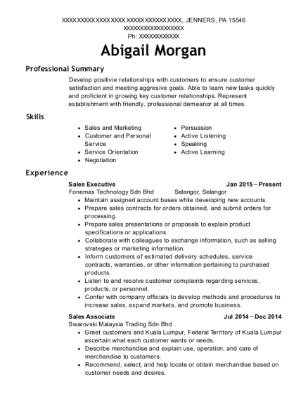 best sales associate resumes