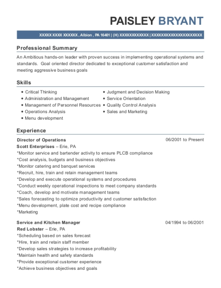view resume - Kitchen Manager Resume