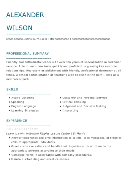 alexander wilson - Swim Instructor Resume
